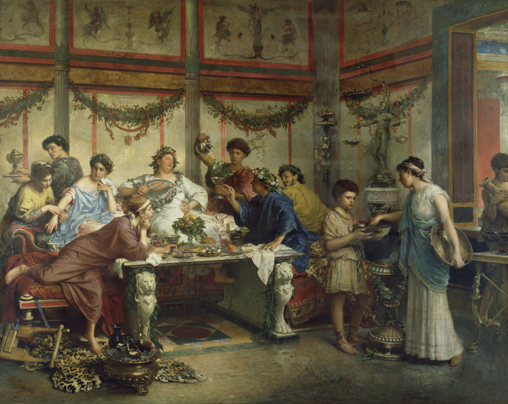 A Roman Feast; Roberto Bompiani (Italian (Roman), 1821 - 1908); late 19th century; Oil on canvas; 127 x 163.8 cm (50 x 64 1/2 in.); 72.PA.4
